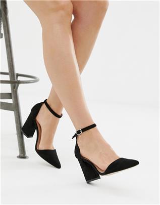 Glamorous - Puntige schoenen met blokhak in zwart