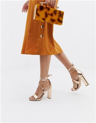 Glamorous - Roségouden sandalen met blokhak en veters