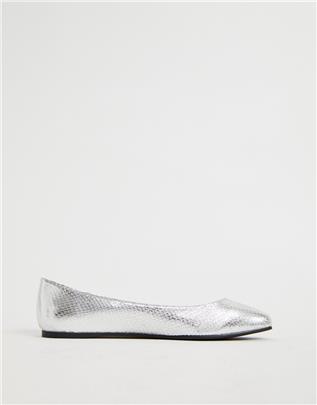 ASOS DESIGN - Lassie - Ballerina's met zilver slangenpatroon