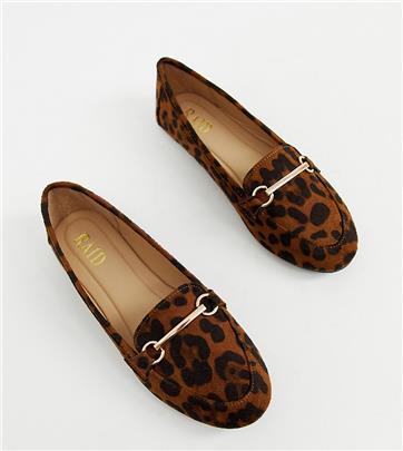 RAID - Viera - Platte schoenen met brede pasvorm en metalen trens in luipaardprint-Multi