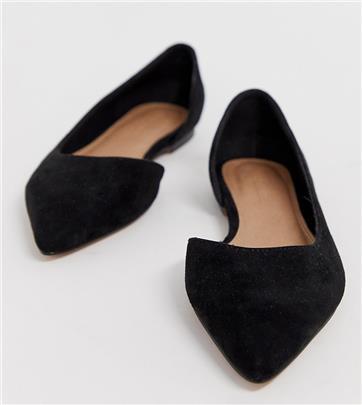 ASOS DESIGN - Virtue d'orsay - Puntige ballerina's met brede pasvorm in zwart