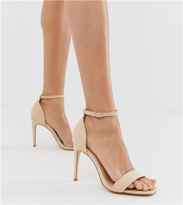 Truffle Collection - Minimalistische sandalen met vierkante neus, stilettohak en brede pasvorm-Beige