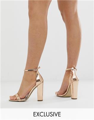 Missguided - Minimalistische sandalen met blokhak in rosé-goud