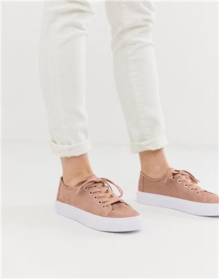 ASOS DESIGN - Dusty - Sneakers met veters in warmbeige