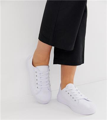 ASOS DESIGN - Dusty - Sneakers met brede pasvorm en veters in wit