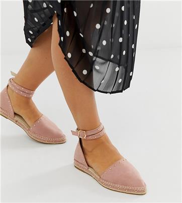 ASOS DESIGN - Jiffy - Espadrilles met studs en brede pasvorm-Roze