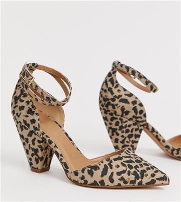 ASOS DESIGN - Speakeasy puntige halfhoge hakken in luipaardprint-Multi