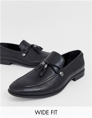 ASOS DESIGN - Loafers met brede pasvorm in zwart imitatieleer met kwastje