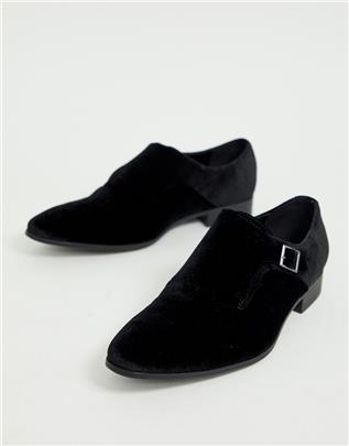 ASOS DESIGN - Gespschoenen van zwart fluweel met zwarte zool