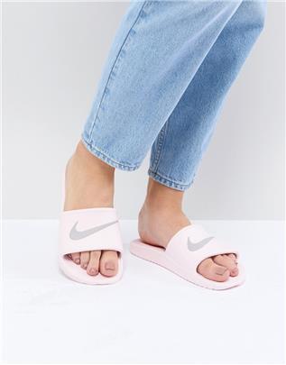 Nike - Kawa - Roze slippers met swoosh-logo