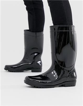 ASOS DESIGN - Lakleren regenlaarzen in zwart