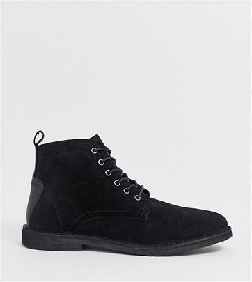 ASOS DESIGN - Chukka boots van zwart suède met leren detail en brede pasvorm