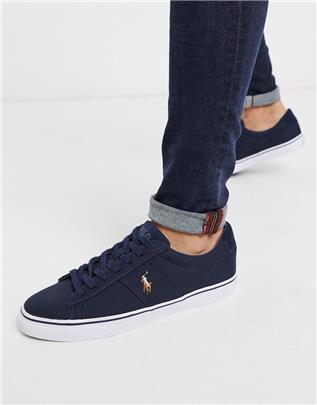 Polo Ralph Lauren - Sayer - Canvas sneakers met polospelers in marineblauw-Wit