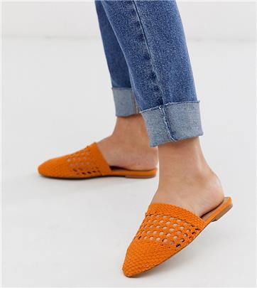 ASOS DESIGN - Motto - Geweven muiltjes met brede pasvorm in oranje