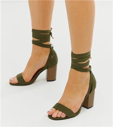 ASOS DESIGN - Howling - Sandalen met hak, strikbanden en brede pasvorm in kaki-Groen