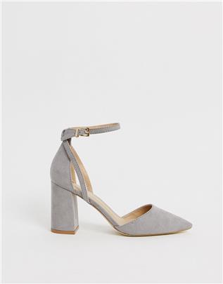 RAID - Katy - Grijze schoenen met blokhak-Grijs