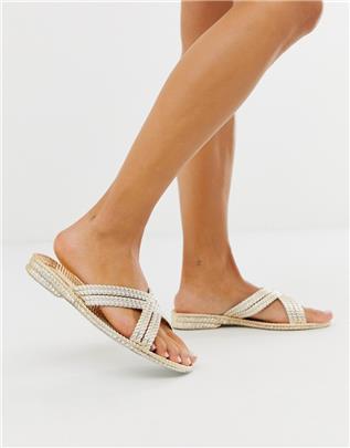 Park Lane - Sandalen met touwdetails-Goud