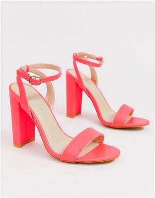 Glamorous - Minimalistische neonroze sandalen met blokhak-Oranje