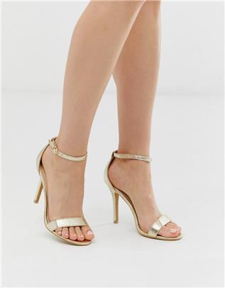 Glamorous - Minimalistische sandalen met hak in goud