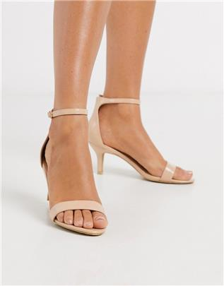 Glamorous - Beigeroze minimalistische sandalen met hak