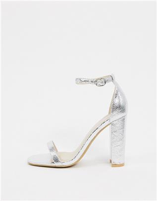 Glamorous - Zilveren minimalistische sandalen met vierkante neus en blokhak
