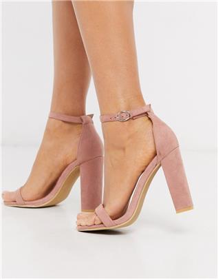 Glamorous - Zachtroze minimalistische sandalen met vierkante neus en blokhak
