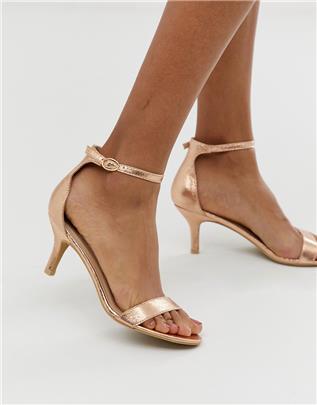 Glamorous - Kitten heel sandalen in roségoud