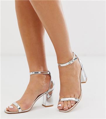 Glamorous Wide Fit - Sandalen met blokhak in zilver
