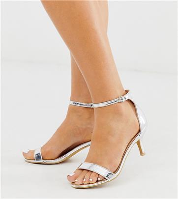 Glamorous Wide Fit - Zilverkleurige sandalen met kitten heel