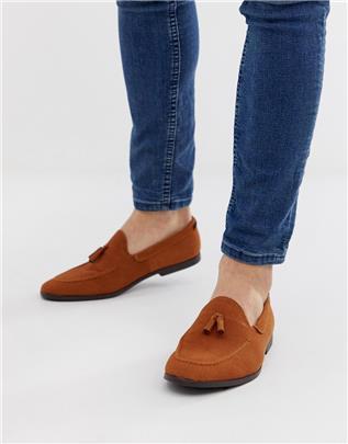 Burton Menswear - Loafers met kwastjes van bruin suède-Lichtbruin