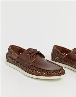 Burton Menswear - Gevlochten bootschoenen in bruin-Lichtbruin