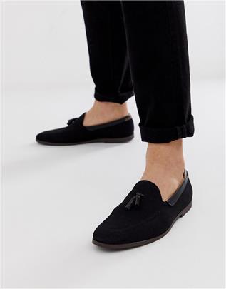 Burton Menswear - Loafers met kwastjes van zwart suède