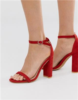 Glamorous - Rode minimalistische sandalen met blokhak-Rood