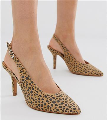 Glamorous - Exclusieve sling-back schoenen met hak en luipaardprint-Multi