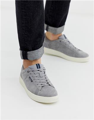 Jack & Jones - Suède sneakers met comfortabele voering in grijs-Zilver
