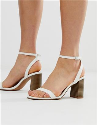 ASOS DESIGN - Hong Kong barely there - Sandalen met blokhak in wit