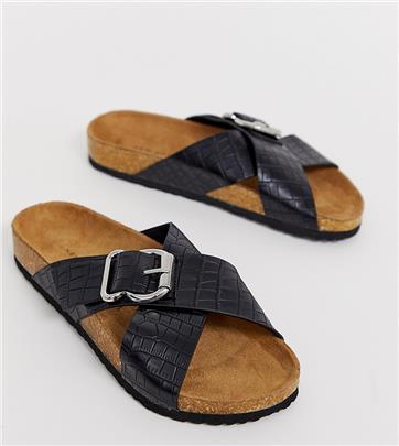 New Look - Platte sandalen met voetbed en zwart krokodillenmotief