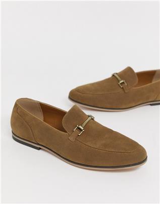 ASOS DESIGN - Loafers in bruin imitatiesuède met trens-Lichtbruin