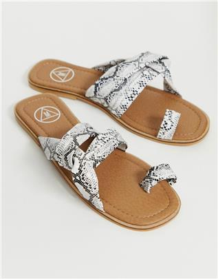 Missguided - Sandalen met gekruiste banden in slangenprint-Multi