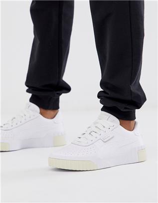 Puma - Cali - Sneakers in wit en citroengeel