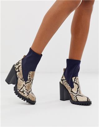 ASOS DESIGN - Evolve - Sock boots met dikke zool in mix van slangenprint-Marineblauw