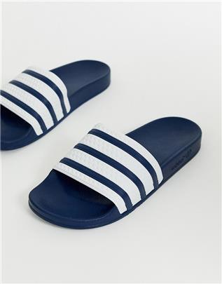 adidas Originals - Adilette - Slippers met navy strepen-Marineblauw