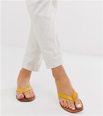 ASOS DESIGN Wide Fit - Florence - Leren slippers in geel