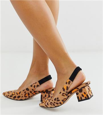 ASOS DESIGN - Serve - Schoenen met slingback, halfhoge hak en luipaardprint-Multi