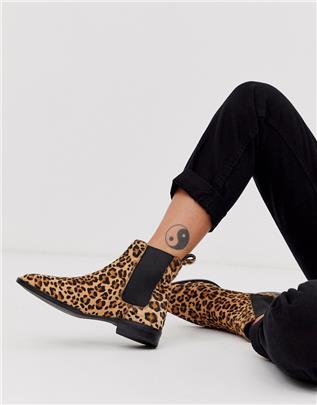 ASOS DESIGN - April - Leren chelsea boots met luipaardprint en paardenhaar-Multi