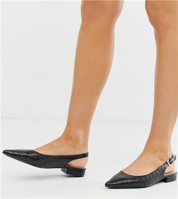 RAID - Exclusive Revel - Zwarte slingback platte schoenen met krokodillenleereffect