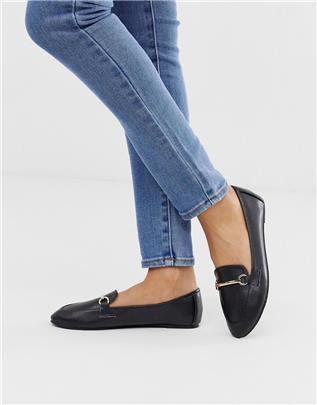 RAID - Viera - Zwarte platte schoenen van imitatieleer