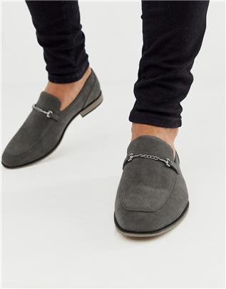 ASOS DESIGN - Loafers in grijs imitatiesuède met trens en zwart zool