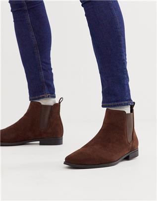 ASOS DESIGN - Chelsea boots van imitatiesuède in bruin
