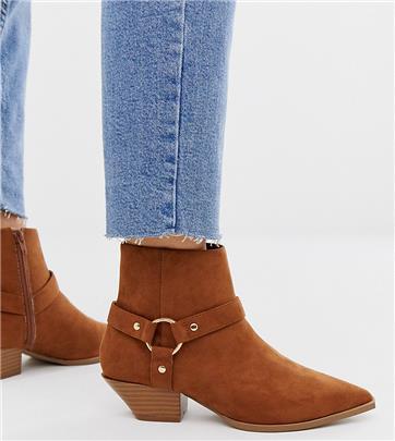 ASOS DESIGN - Aidan - Western boots met brede pasvorm in bruin